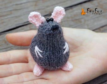 Miniature mouse stuffed animal, Tiny mouse plushie, Cute mouse figurine