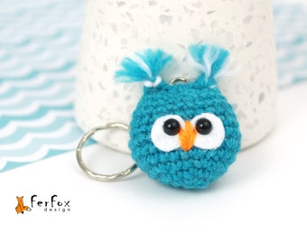 Stuffed owl keychain Plush owl key ring Owl bag charm Housewarming gift Animal keychain Animal lover gift Owl handbag accessory Party favor