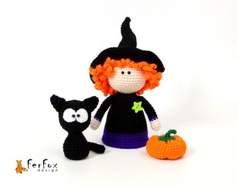 Halloween witch doll with Black cat and Pumpkin, Kawaii Witch figurine, Cute Halloween decoration