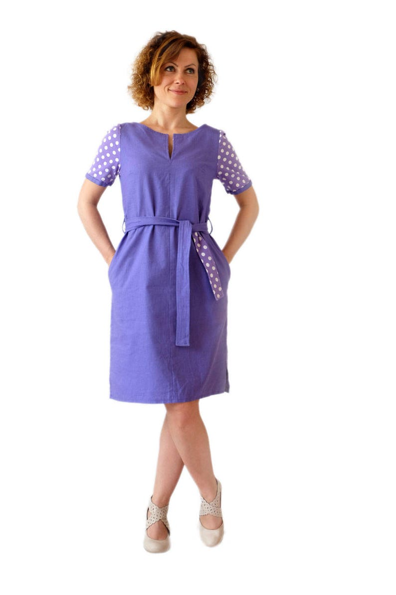 c0966b8760 Iris purple linen dress with white polka dot short sleeves and