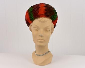 Vintage Red Maroon Fuzzy Wool Hat with Side Tassel by Gwen Pennington