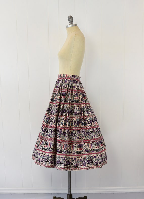 1950's Egyptian Novelty Print Skirt - image 4