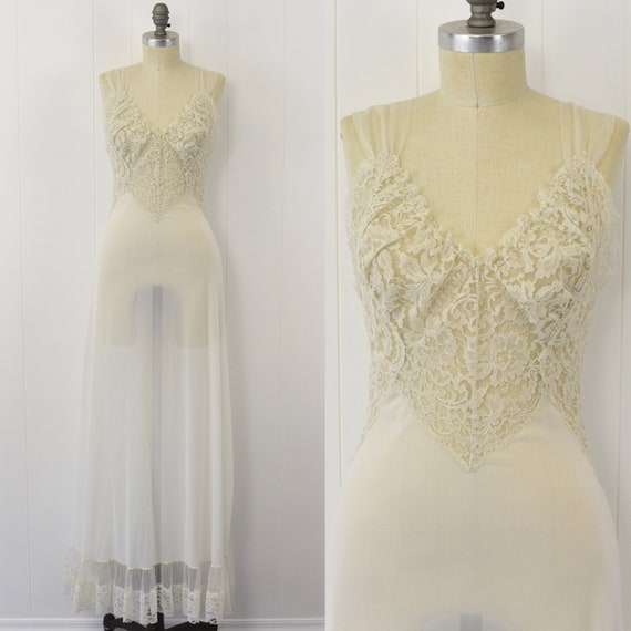 1950's White Lace & Nylon Nightgown
