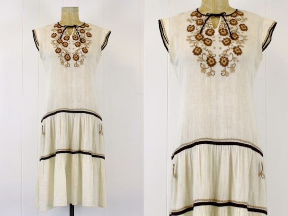 1970s Embroidered Cotton Gauze Peasant Dress - image 1
