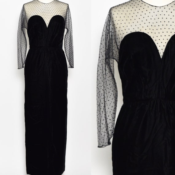 1980's Does 1940's Black Velvet & Polka Dot Gown