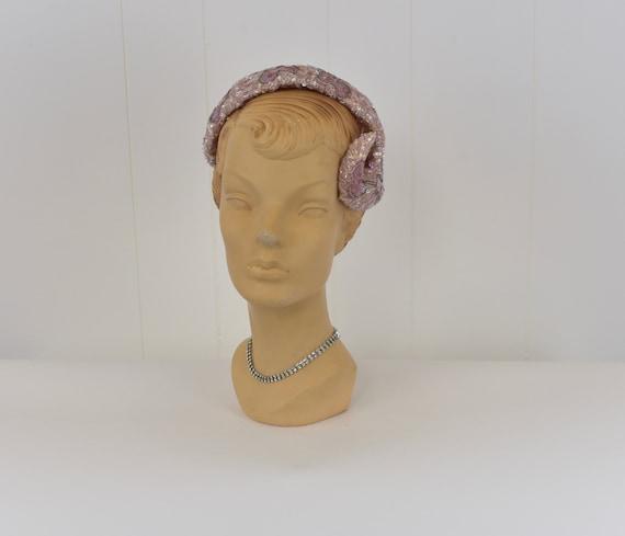 1950s Pink Sequin & Bead Skull Cap Hat - image 2