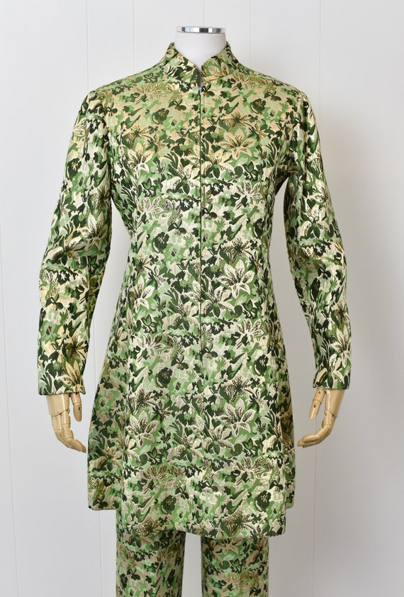 1960s Ceil Chapman Green Floral Metallic Two Piec… - image 2