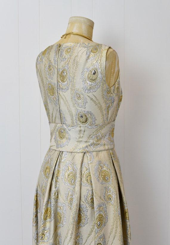 1960s Ceil Chapman Gold & Silver Metallic Peacock… - image 7
