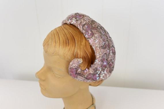 1950s Pink Sequin & Bead Skull Cap Hat - image 3