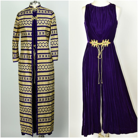 1960's Royal Purple Jumpsuit with Metallic Coat