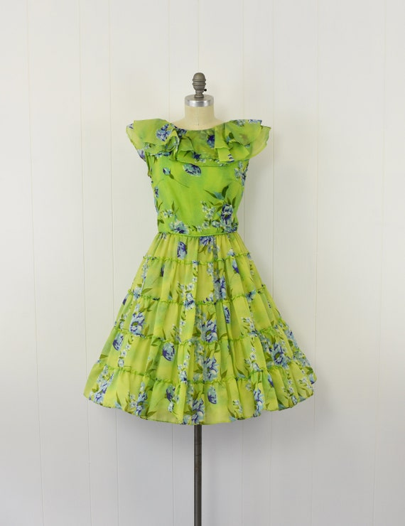 1950's Green Floral Sheer Ruffle Dress