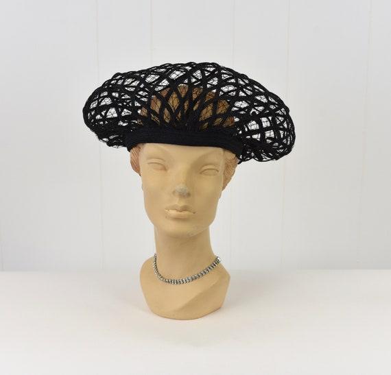 1960s Christian Dior Black Net Hat - image 1