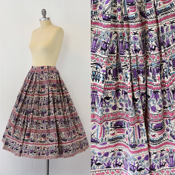 1950's Egyptian Novelty Print Skirt