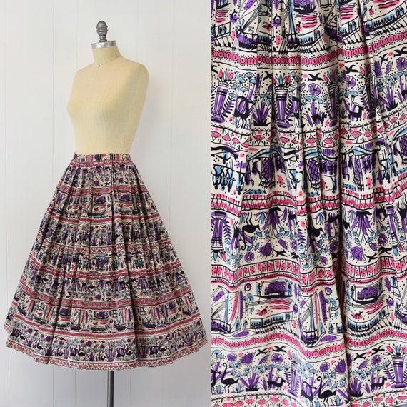 1950's Egyptian Novelty Print Skirt - image 1