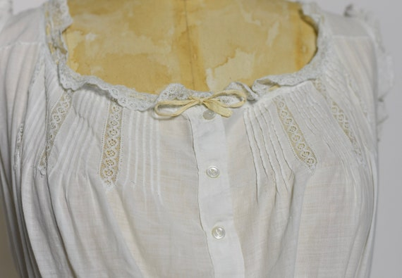 Antique Edwardian 1900's White Cotton Dress/Under… - image 4