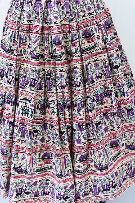 1950's Egyptian Novelty Print Skirt - image 6