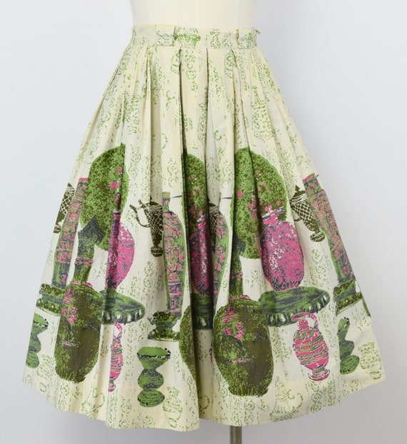 1950's Vase Novelty Print Skirt
