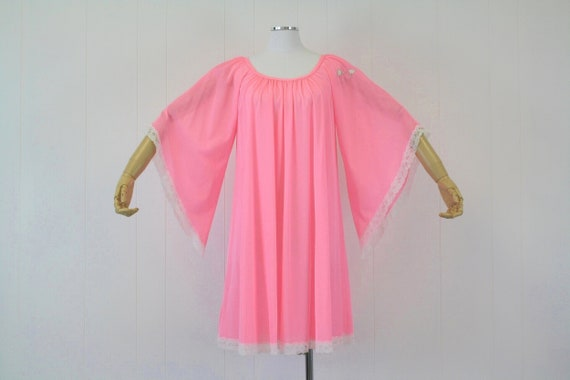 1970s Lucie Ann Pink Angel Wing Sleeve Nightgown … - image 1
