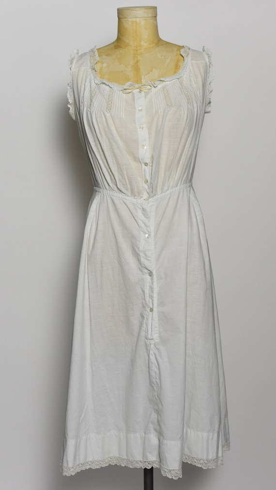 Antique Edwardian 1900's White Cotton Dress/Under… - image 2