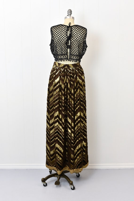 1970s Adolfo Chevron Metallic Skirt - image 4