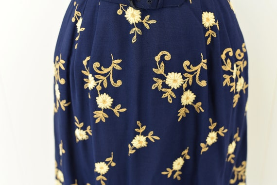 1940's Navy Floral Embroidered Dress - image 5