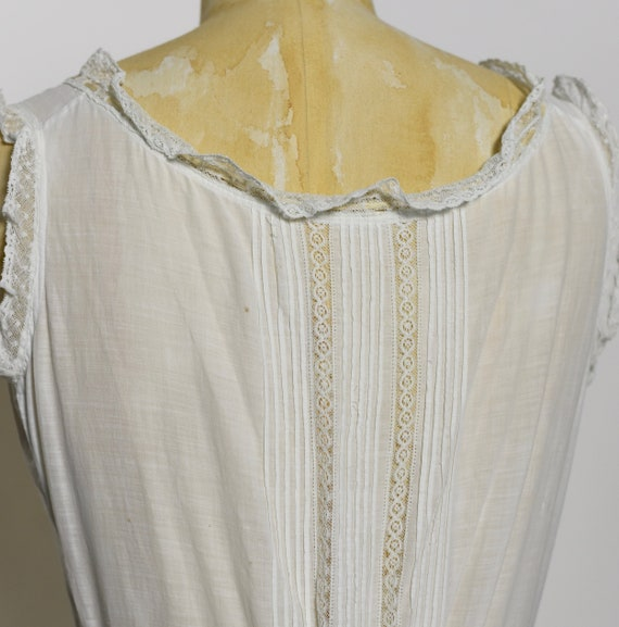 Antique Edwardian 1900's White Cotton Dress/Under… - image 6