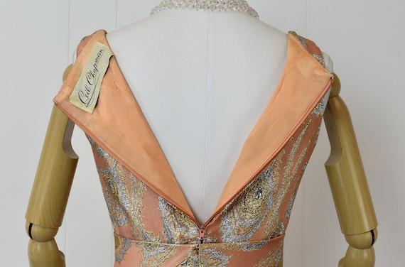 1960s Ceil Chapman Pink Brocade Metallic Peacock … - image 7