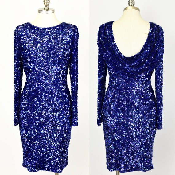 1980's Blue Sequin Mini Dress