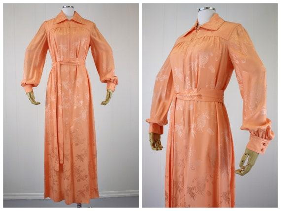 1970s Rizkallah for Malcolm Starr Peach Dressing G
