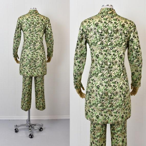 1960s Ceil Chapman Green Floral Metallic Two Piec… - image 7