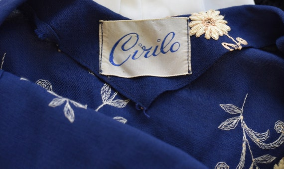 1940's Navy Floral Embroidered Dress - image 9