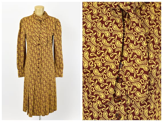 1970's Abstract Teal Traina Dress