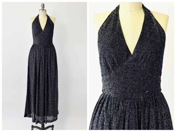 1970's Jonathan Logan Sparkly Halter Dress