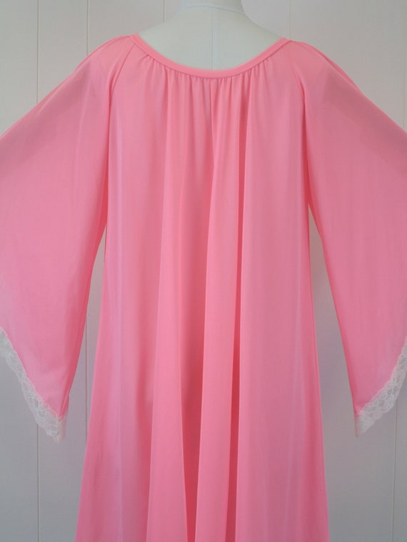 1970s Lucie Ann Pink Angel Wing Sleeve Nightgown … - image 7