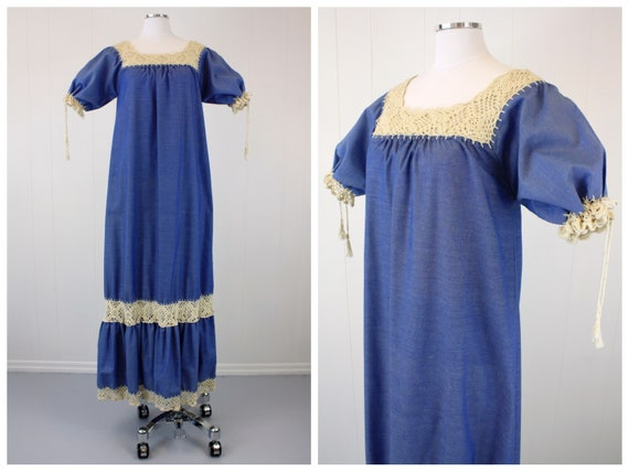 1970s Crochet & Chambray Puff Sleeve Dress