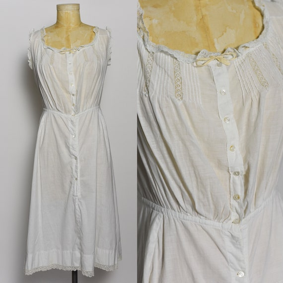 Antique Edwardian 1900's White Cotton Dress/Underd