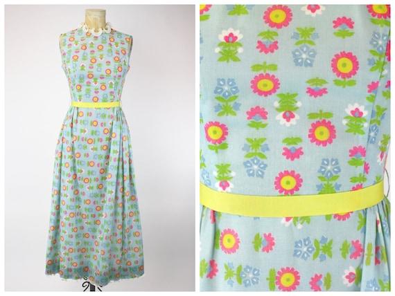1960's Blue Floral Dress