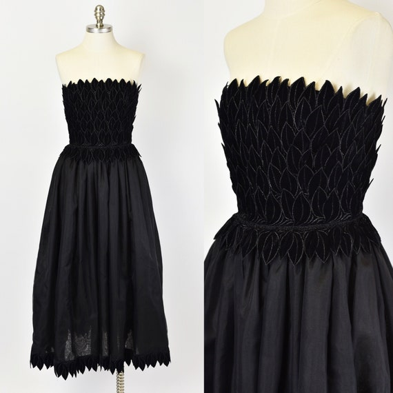 1980's Black Adele Simpson Gown