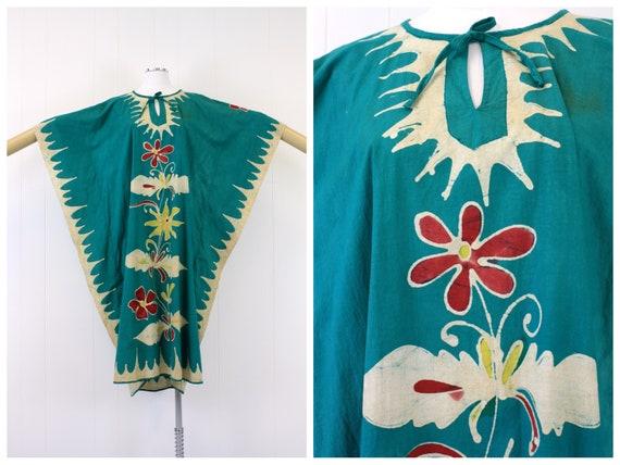1970s Teal Batik Kaftan