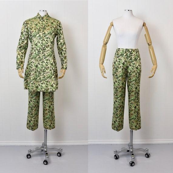 1960s Ceil Chapman Green Floral Metallic Two Piec… - image 1