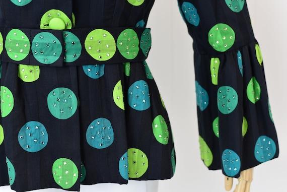 1980s Pauline Trigere Polka Dot Rhinestoned Jacket - image 5