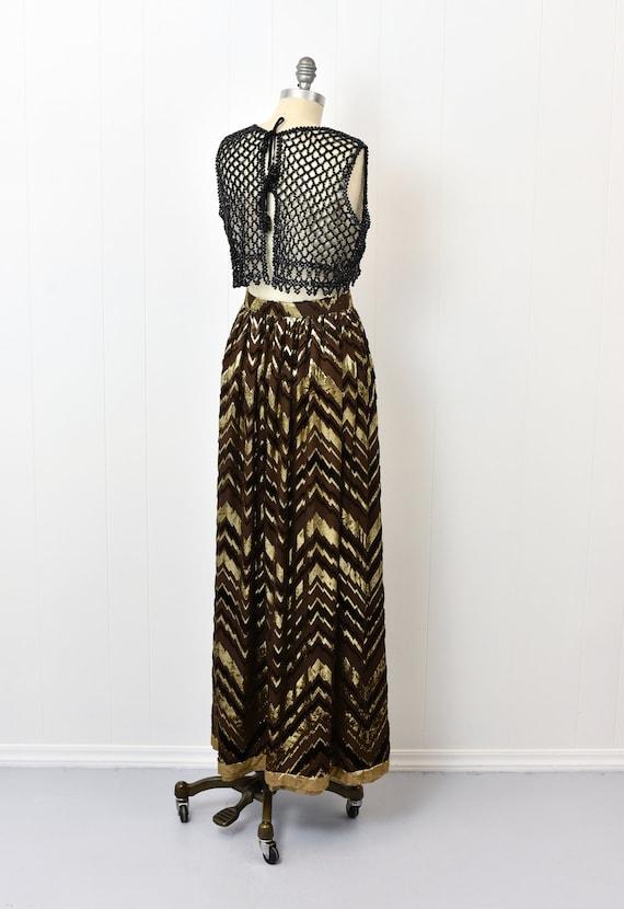 1970s Adolfo Chevron Metallic Skirt - image 5