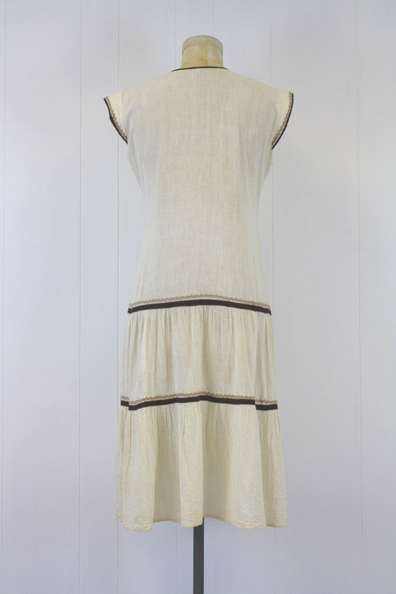 1970s Embroidered Cotton Gauze Peasant Dress - image 4