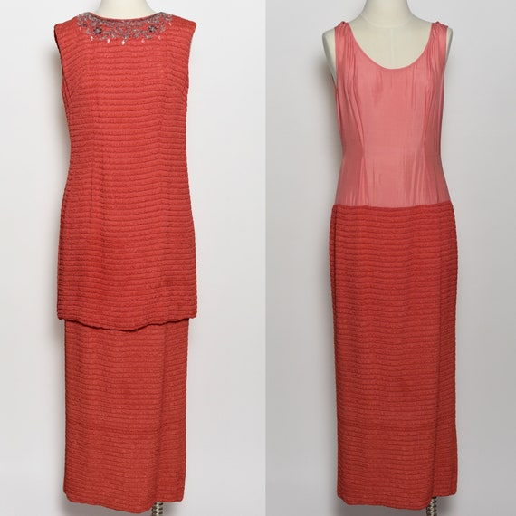 1960's Red-Orange Two Piece Dress Set