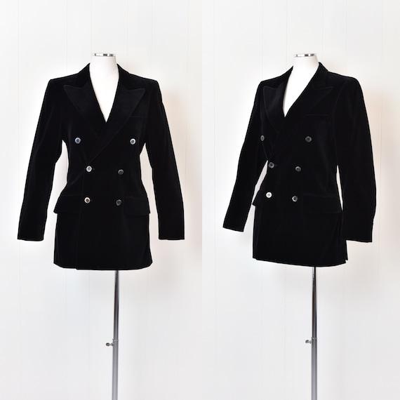1970s Yves Saint Laurent Black Velvet Jacket - image 1