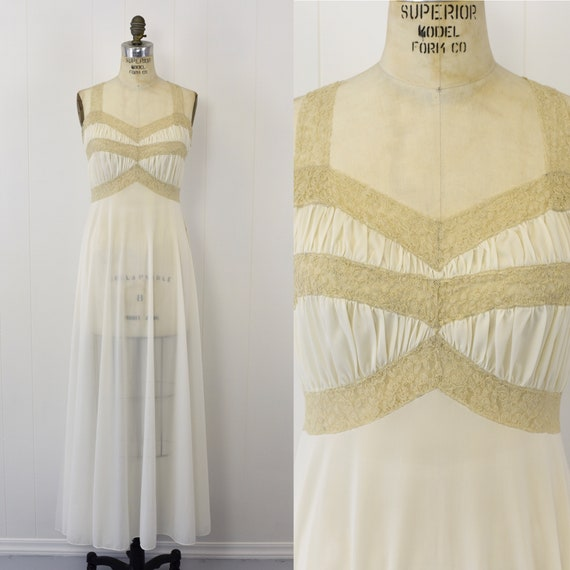1950's Nylon & Ecru Lace Nightgown