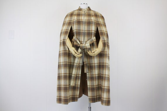 1960s Brown Plaid Wool Cape