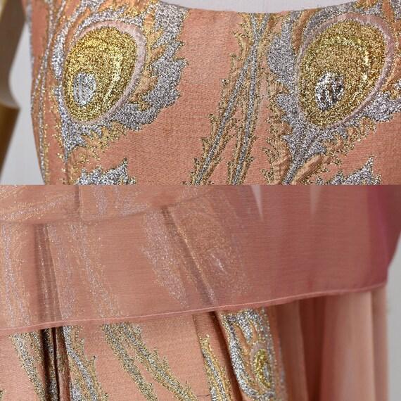1960s Ceil Chapman Pink Brocade Metallic Peacock … - image 10