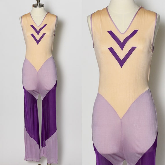 RARE 1930's Purple Sheer Beach Pajamas Jumpsuit