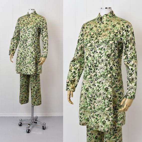 1960s Ceil Chapman Green Floral Metallic Two Piec… - image 6